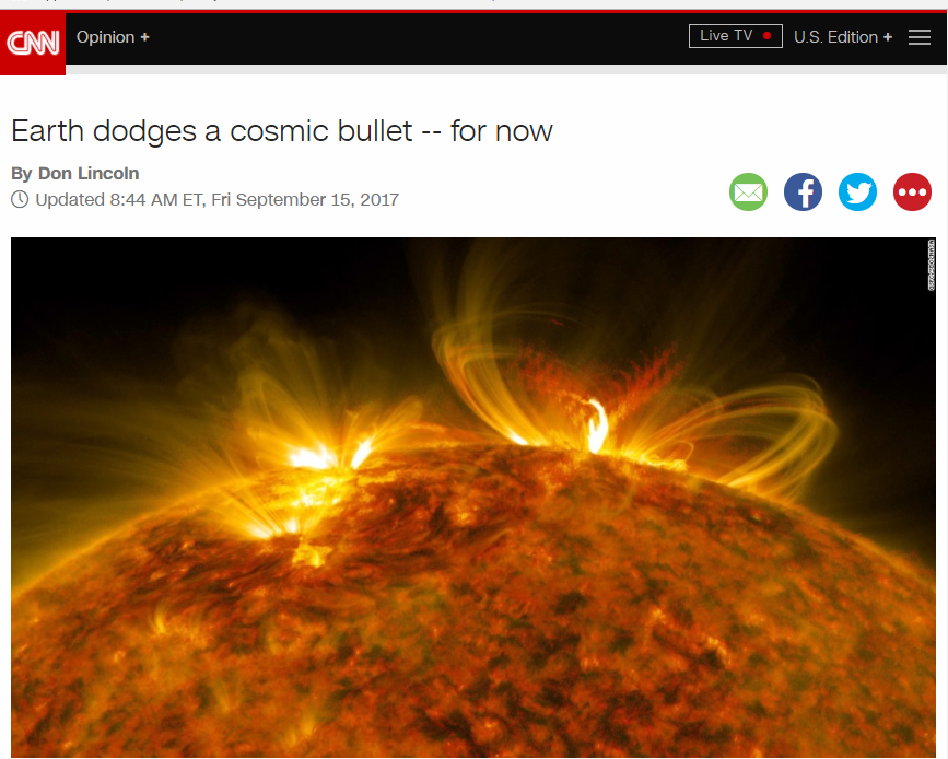 CNN reports near miss solar flare